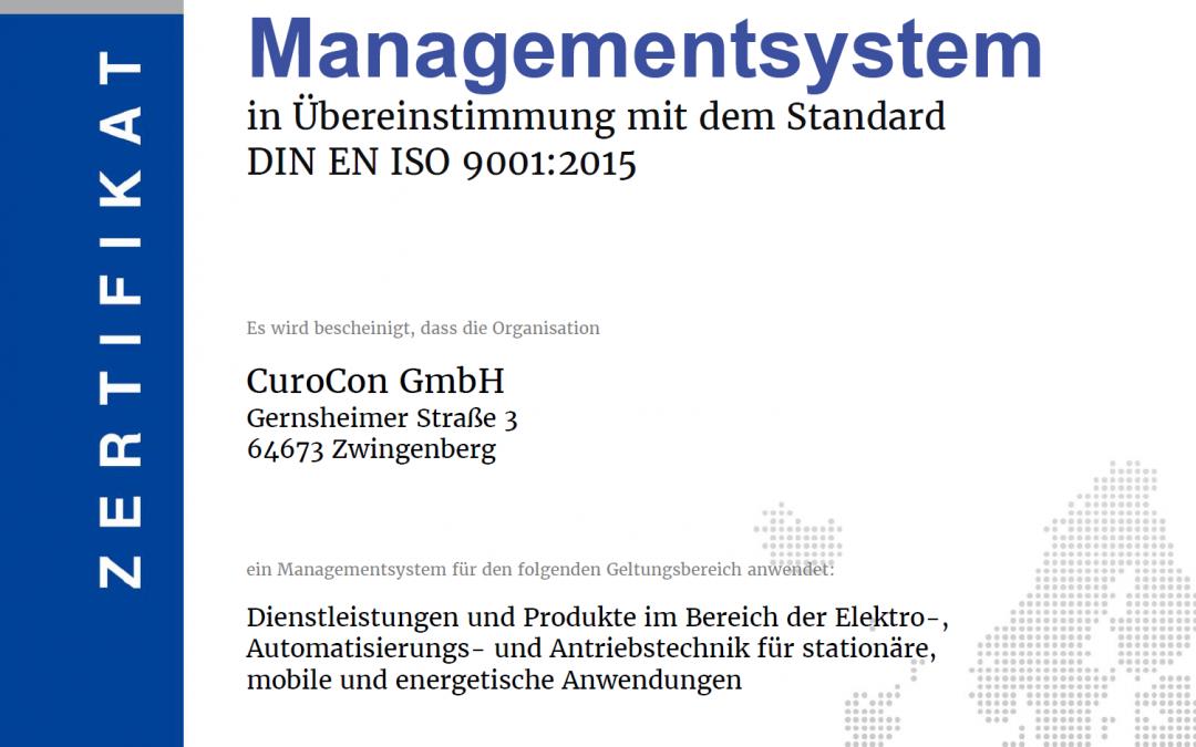 Aktuelle Zertifizierung – ISO 9001:2015 – erfolgreich bestanden